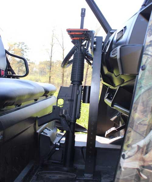 UTV Golf Cart Vertical Gun Rack mounted in Polaris Ranger UTV